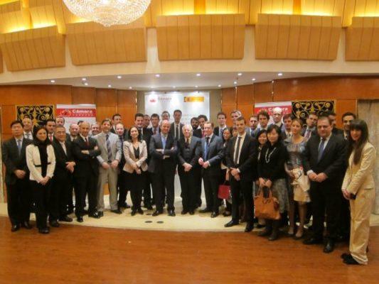 De Guindos con delegación almeriense INTECA en Pekín