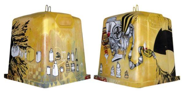 Primer premio Reziklarte de cubos de basuro convertidos en arte