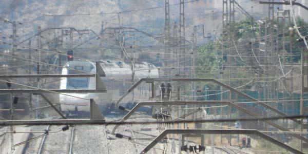 Tren pasando por la estación