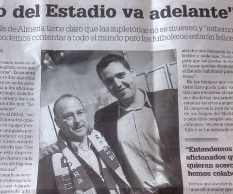 Los defensores de la pista del Estadio de los Juegos Mediterréneos de Almería recuerdan las palabras del alcalde y del concejal