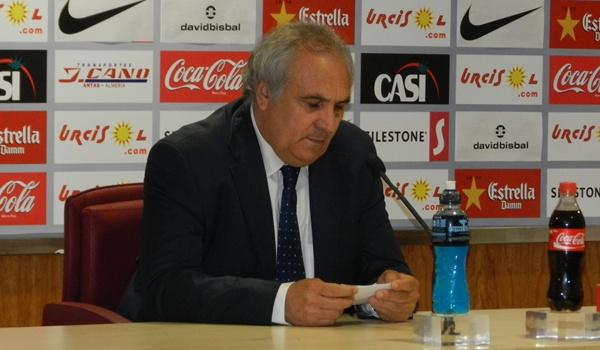 El presidente de la UD Almería ha sido contundente en el tema Bernardello