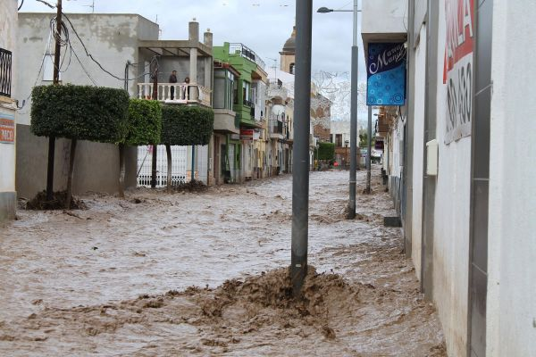 Estado de las calles de Pulpí tras las lluvias de hace un año
