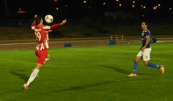 El extremo de la UD Almería B ha jugado de delantero centro ante la baja de Chumbi ante el Melilla