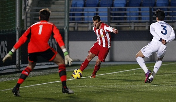 El Almería ha perdido ante el filial merengue pero sigue segundo de la Liga Adelante