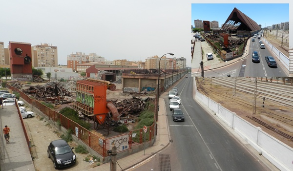 El silo del mineral de Almería es demolido en muy poco tiempo