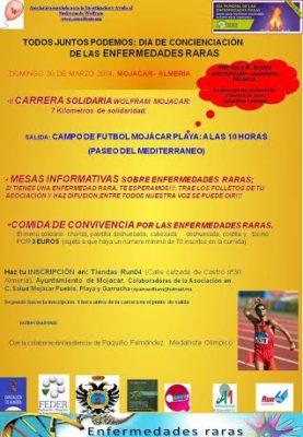 Cartel de la carrera solidaria en Mojácar, el 30 de marzo