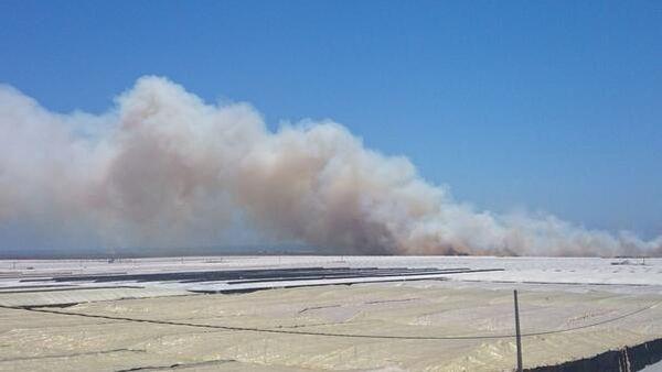Columna de humo en Punta Entinas