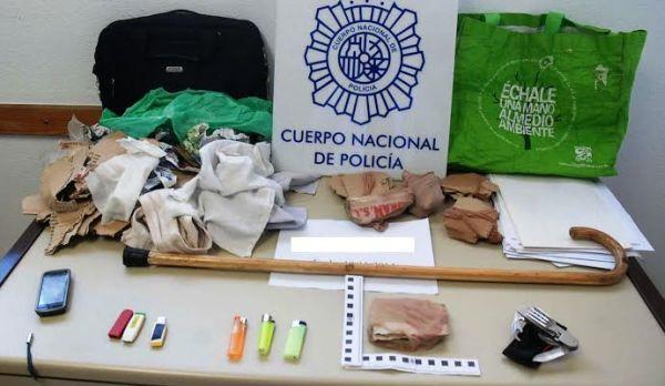 Material intervenido al detenido en su vivienda