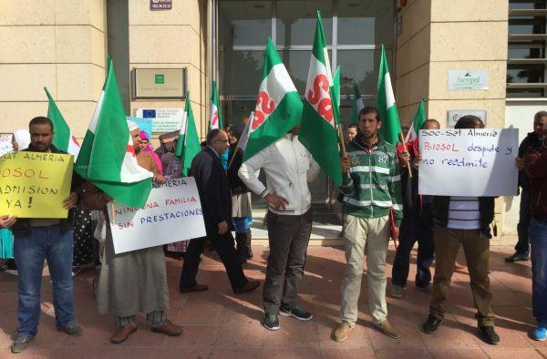"""El SAT protesta en El Ejido por el """"incumplimiento"""" de los convenios y el retraso de las prestaciones"""