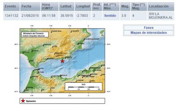 terremoto al sur de la Mojonera