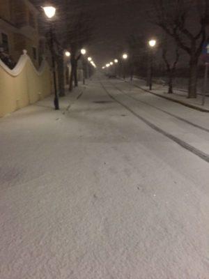 Calles de Vélez Rubio cubiertas de nieve. Foto Isabel Flores