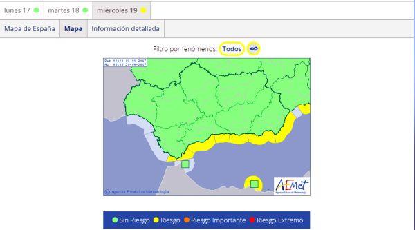 mapa alertas amarillas