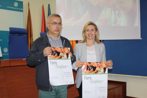 Matías García y Maribel Ramírez, en la presentación del Foro del Empleo 2017