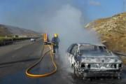 Las llamas calcinan un vehículo que circulaba por la A-7 en Sorbas