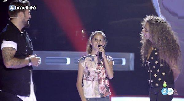 Momento de la participación de Laura en La Voz Kids