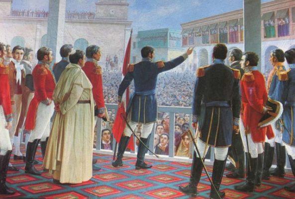 El general San Martín proclama la independencia de Perú