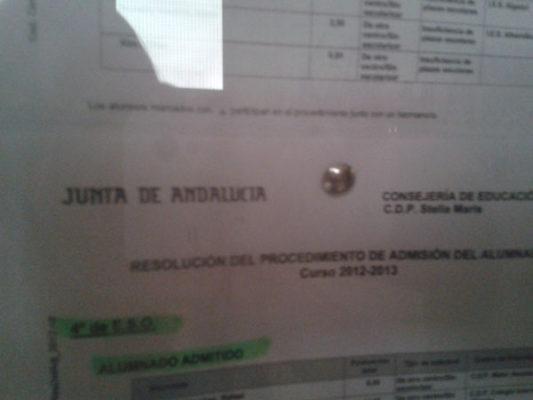 Listado del colegio concertado Stella Maris publicado hoy mismo en el centro