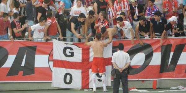Los jugadores de la UD Almería se han despedido de la Grada Joven agradeciéndoles su apoyo toda la temporada