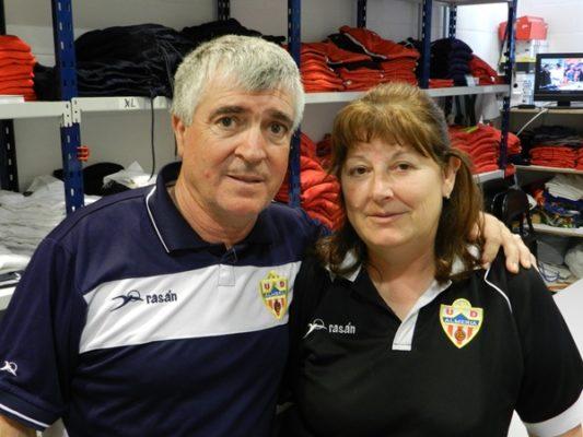 Es el único matrimonio de utilleros que hay en la Liga de Fútbol Profesional y trabajan en la UD Almería