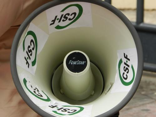 CSIF ha usado un megáfono en sus movilizaciones para llamar más la atención de los ciudadanos
