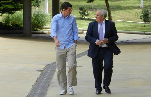 Javi Gracia ha dado su primer paseo por las instalaciones del Estadio de los Juegos Mediterráneos