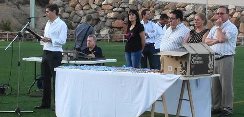 El presidente del Polideportivo Aguadulce es José Manuel Yeste, que convocó a las autoridades de Roquetas de Mar