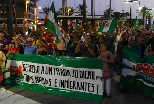 La manifestación de la capital de Almería fue un éxito para el SAT