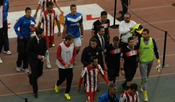 Hubo lío entre la UD Almería y el Real Murcia en la Liga Adelante