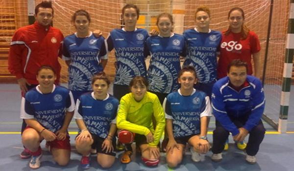 Universidad de Almería contra Cádiz en fútbol sala femenino en los Campeonatos de Andalucía Universitarios