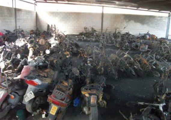 Motos quemadas