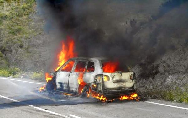 Arde un vehículo cuando circulaba por la AL-1102 y sus ocupantes salen ilesos