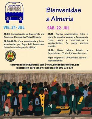 cartel abriendo fronteras almeria