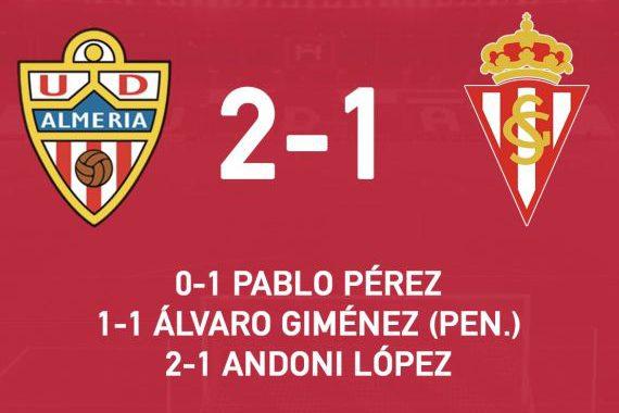 El Almería vence al Sporting y se acerca a la zona alta de la tabla