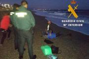 Equinac y Guardia Civil asisten a un delfín varado en la playa de Aguadulce