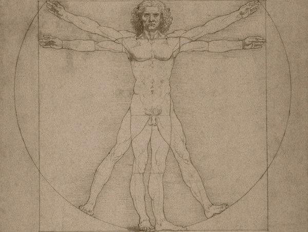 Leonardo da Vinci's Vitruvian Man, circa 1490.