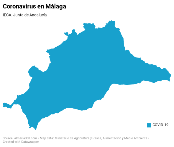 Listado de municipios con casos positivos de coronavirus en la provincia de Málaga
