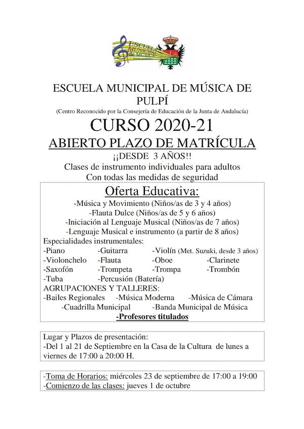 Matrícula Escuela Municipal de Música de Pulpí