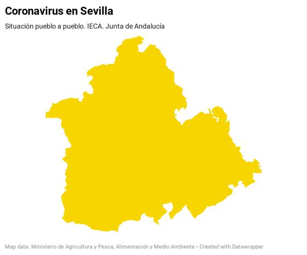 Listado de municipios con casos positivos de coronavirus y tasa de contagios en la provincia de Sevilla